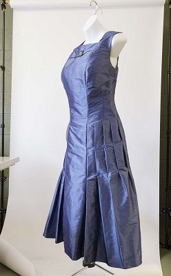 Side view of slate blue silk evening dress by The Sewing Room Malvern