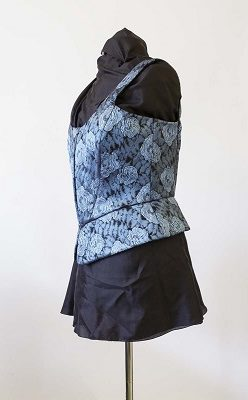 Blue Brocade corset with peplum lined and boned made at The Sewing Room in Malvern