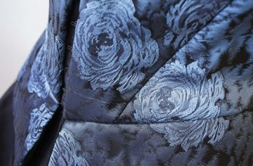 blue brocade corset fully lined in black satin and boned made at The Sewing Room Malvern