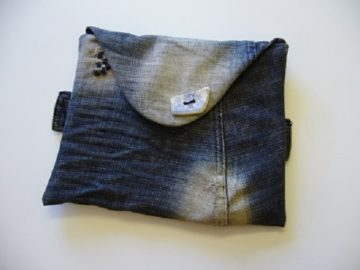 Upcycled denim clutch bag at The Sewing Room