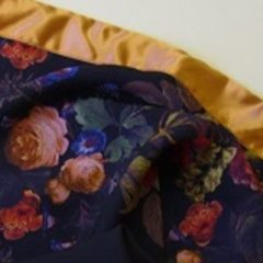 Chiffon floral scarf with cornflower blue lining and peach satin trim made at The Sewing Room Malvern