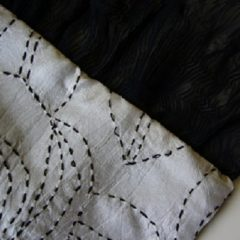 White silk scarf with black embroidery and chiffon trim made in The Sewing Room Malvern