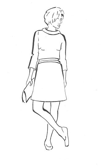 Waist length top with wide roll collar and back button closure. A-line skirt with curved grown on waistband at The Sewing Room Malvern