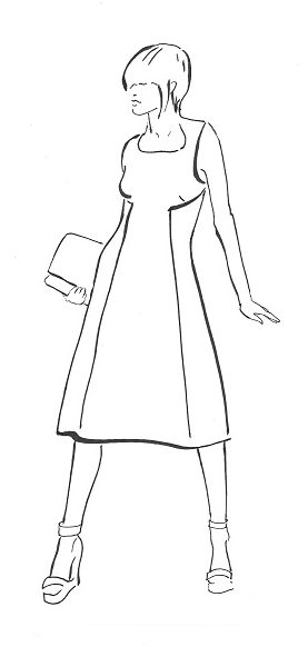 Pinafore dress, with gentle A-line shape, curved under-bust darts and front panel, no side seams, back darts at The Sewing Room Malvern