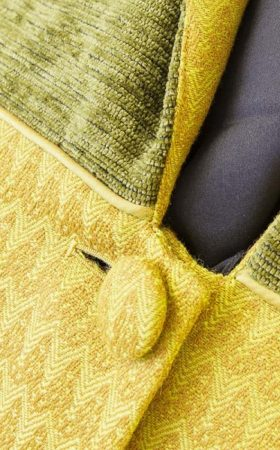 Ladies slim line coat in mustard yellow at The Sewing Room Malvern