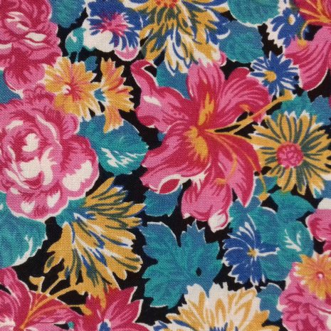 floral cotton in pinks and blues with a black bagckground from The Sewing Room Malvern