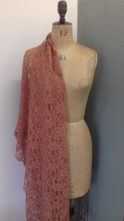 Old Rose coloured flat lace code CH18L from The Sewing Room Malvern