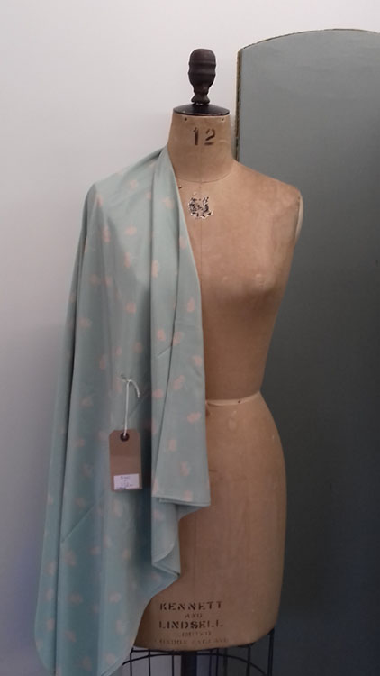 Vintage mint green aqua fabric with pink sprigs Code CH12Sy at The Sewing Room Malvern