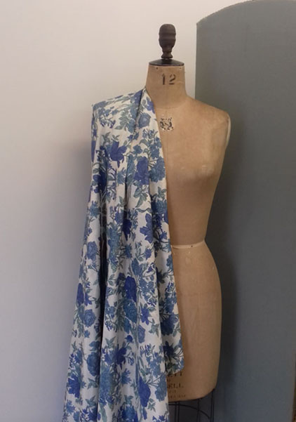 Blue & Green floral 100% silk at The Sewing Room Malvern