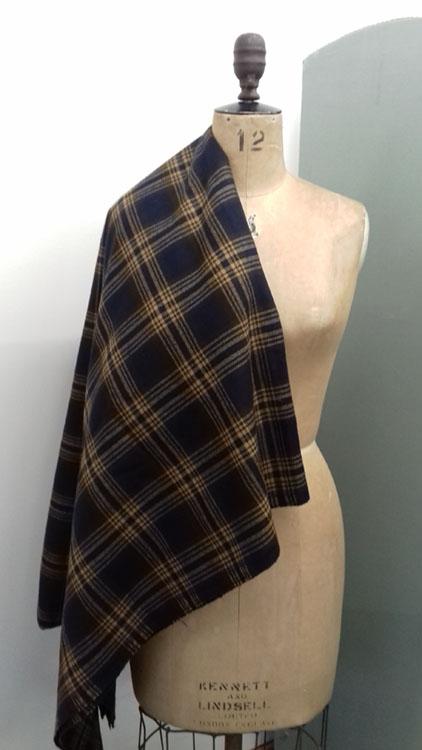 Dark blue and tan check wool code at The Sewing Room Malvern