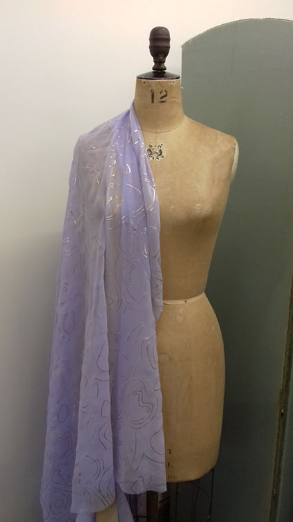Lilac and gold chiffon code CH0r at The Sewing Room Malvern