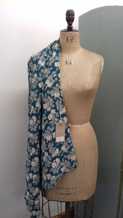 Vintage Teal and cream crepe code CH159 at The Sewing Room Malvern